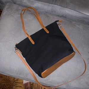 Canvas tote bag with faux leather accents